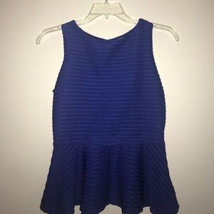 Bisou Bisou Size M Blue Sleeveless Plume Top